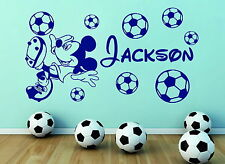 Football Mickey Mouse Personalised Boys Name With Footballs Vinyl Wall Sticker