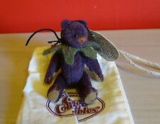 Cottage Collectibles Ganz Miniatures GRAPES Bear With Tags & Cloth Bag