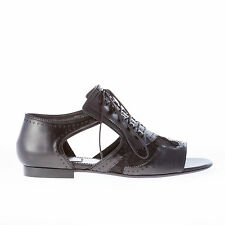 GIVENCHY scarpe donna women shoes sandalo oxford in pelle NERO aperta in punta
