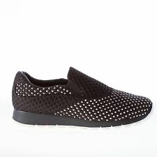 PRADA scarpe donna women shoes Slip on Bee running tessuto nero con borchie