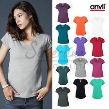 Anvil Women's Triblend V-Neck Short Sleeve T-Shirt (6750VL)-Casual Tee Top