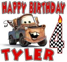 """MATER"" TRUCK BIRTHDAY T-SHIRT Personalized Any Name/Age Toddler to Adult CARS"