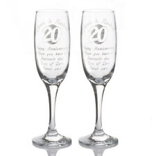 Engraved Wedding Anniversary Champagne Flutes - Personalised Toast Glasses gifts