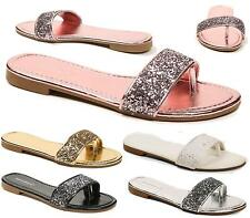 LADIES FLAT HEEL PEEP TOE GLITTER PEEPTOE PARTY BRIDAL SANDALS BEACH MULES SIZE