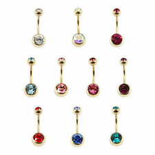 ZIRCON PVD GOLD Titanium Double Jewelled 1.6mm Navel Belly Bar MADE IN THE UK