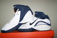 Women's New Nike Zoom Air Huarache Excel White Basketball Shoes with Navy Trim