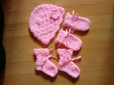 Handmade Crocheted Baby Girl Flower Hat/Mitts/Bootees 100%Acrylic Various colour