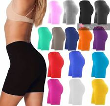 NEW LADIES PLAIN STRETCHABLE COTTON CYCLING SPORT SHORTS UK 8-22