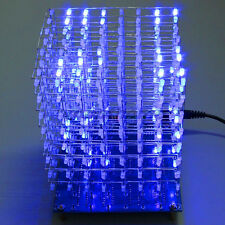 3D Squared 8x8x8 3mm LED DIY Cube Blue/Red Light LED Kit Set Board with Cable