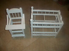 White Wood Doll Highchair & Doll Two Tier Baby Bed