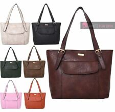 NEW LADIES POCK FRONT PU LEATHER CLASSIC SIMPLE TOTE SHOPPER SHOULDER BAG