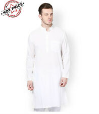 Men's White Cotton Kurta Pyjama Set and Get Free Best Quality 2 White Hankies