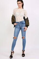 PILOT Frayed Hem Ripped Open Knee Skinny Jeans in Light Denim
