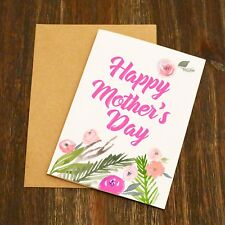 Watercolour Flowers Mother's Day Card - By EllieBeanPrints - Free Post Mum