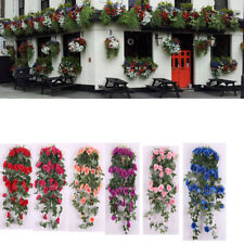 Artificial Rose Silk Flower Garland Ivy Vine Outdoor Indoor Hanging Decor 6Color