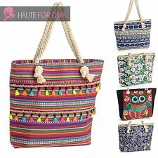 Womens New Rope Handle Tote Bags Beach Purse Coachella Style Festival Holiday