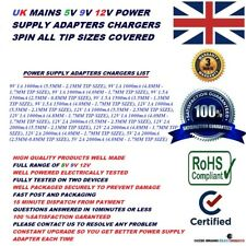 UK AC/DC 9V 1A 9V 1.5A 12V 1A 12V 2A 5V 2A ALL TIP SIZES POWER SUPPLY ADAPTERS