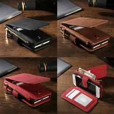 Luxury Genuine Leather Flip Wallet Stand Card Case Cover for iPhone 7