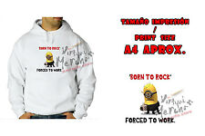 FELPA BORN TO ROCK MINION MINIONS CON CAPPUCCIO sweatshirt es