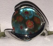 Colourful Flower Design Round Millefiori Lampwork Glass Silver Tone Dress Ring