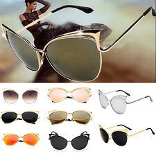 Women Retro Lens Mirrored Metal Frame Glasses Oversized Cat Eye Sunglasses New R