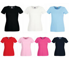 Damen Rundhals T-Shirt Lady Fit Top Shirt Fruit of the Loom