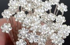 Prom Hair Pins Flower Pearl Diamante Crystal Bridal Bridesmaids Wedding 10-20