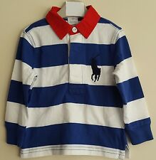 BNWT POLO RALPH LAUREN BABY BOYS LONG SLEEVE STRIPED RUGBY POLO TOP/POLO SHIRT