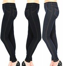 New Women's Ladies Plus Size Stretchy Denim Look Skinny Jeggings Leggings 14-32