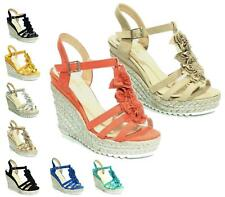 Ladies High Wedge Espadrilles Ankle Strap Peep Toe RUFFLE FLOWER Sandals Size UK