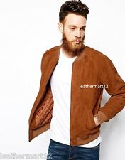 ADARGA Genuine Tan Brown Suede Leather Designer Bomber Biker Blazer for Men's