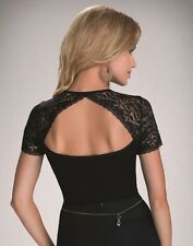"""Black Womens Casual Top T-shirt  Short Lace Sleeves Back Cut Out """"Lana"""""""