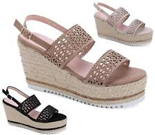Ladies High Wedge Espadrilles Ankle Strap Platform Peep Toe Sandals Size UK 3-8
