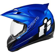 Casco Integrale Moto Cross Enduro Quad Icon Variant Double Stack Blu