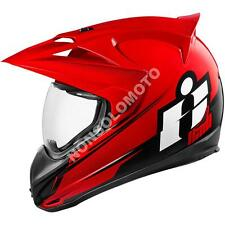Casco Integrale Moto Cross Enduro Quad Icon Variant Double Stack Rosso