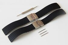4 SIZES  18-24mm Silicone Rubber Watch Strap Band Waterproof  Deployment Clasp