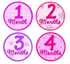First Year Monthly Milestone Baby Belly Stickers and Bodysuits - Pretty Pink