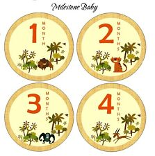Milestone Baby Monthly Age Belly Stickers and Bodysuits - Safari