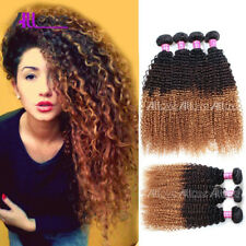 3Bundles Ombre Three Tone Kinky Curly Peruvian Virgin Remy Human Hair Extension