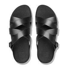 New Women`s Fitflop The Skinny Criss-Cross Black Leather Slide Sandals