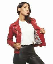 Giacca in pelle donna KBC • colore rosso • giacca biker in pelle biker nappa eff