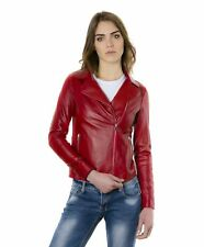 Giacca in pelle donna ELIS • colore rosso • giacca biker in pelle effetto liscio