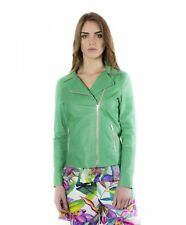 Giacca in pelle donna ELIS • colore verde • giacca biker in pelle effetto vintag
