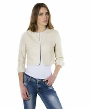 Giacca in pelle donna MISS • colore beige • giacca corta in pelle girocollo napp