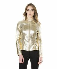 Giacca in pelle donna GENY • colore oro • giacca biker in pelle trapuntata nappa