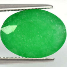 12.79 Ct. Big Beautiful Green Lab Emerald oval for a ring or pendant #887