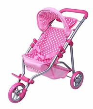 Precious Toys, Pink & White Polka Dots Foldable Doll Stroller Jogger, Foam and
