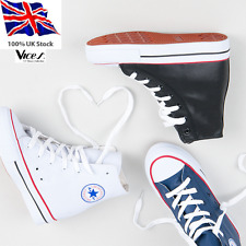 WOMENS-LADIES LEATHER SNEAKERS,TRAINERS HIGH WEDGE LACE UP NEW*UK STOCK