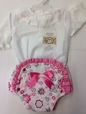 Girls Romany Spanish Style 2 Piece Blouse & Bow Jam Pants Set PINK WHITE Floral