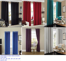 LUXURY FAUX SILK CURTAINS  EYELET READY MADE, RING TOP FULLY LINED INC TIE BACKS